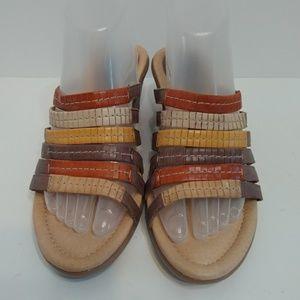 Earth gardenia brown wedge slip on sandals